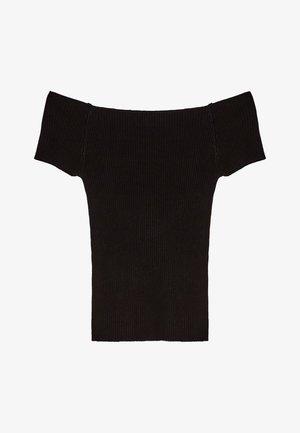MIT CARMEN-AUSSCHNITT - T-shirt z nadrukiem - black