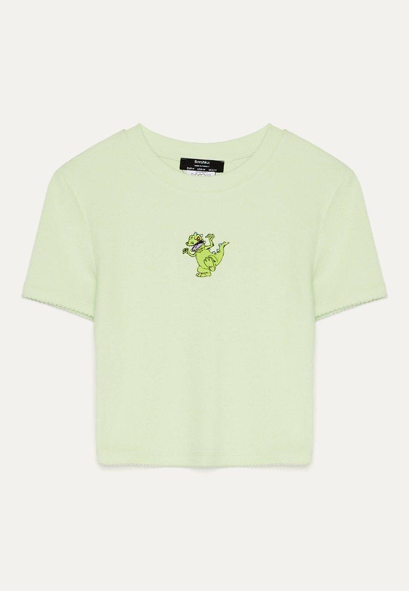 Bershka - T-shirt z nadrukiem - green