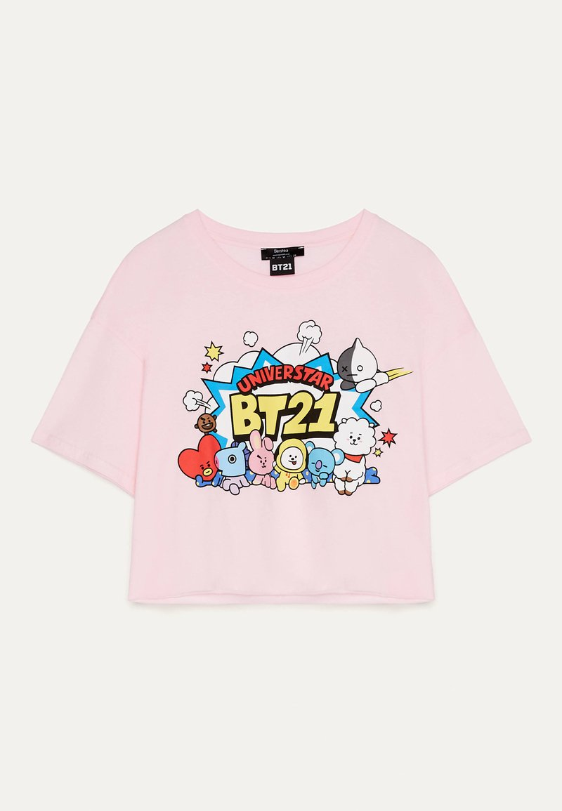 Bershka - Print T-shirt - pink