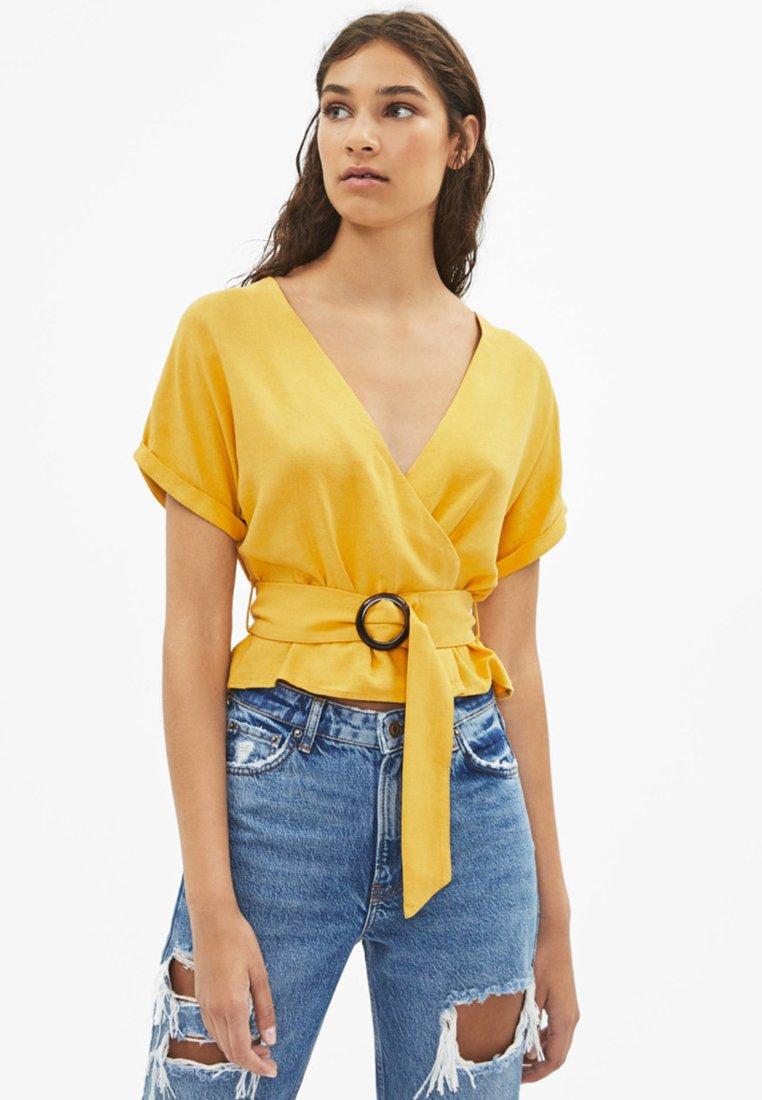 Bershka - MIT GÜRTEL  - Blus - mustard yellow