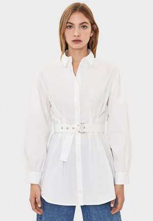 POPELIN-HEMD MIT GÜRTEL 00699168 - Button-down blouse - white