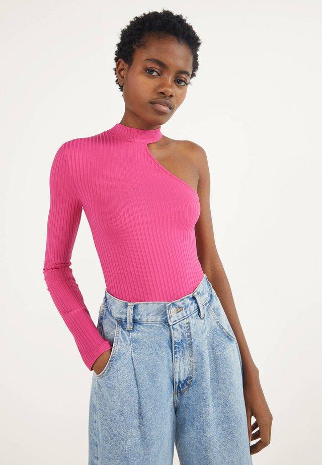 ASYMMETRISCHES BODY - Bluzka z długim rękawem - neon pink