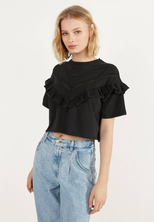 MIT VOLANTS - Blouse - black