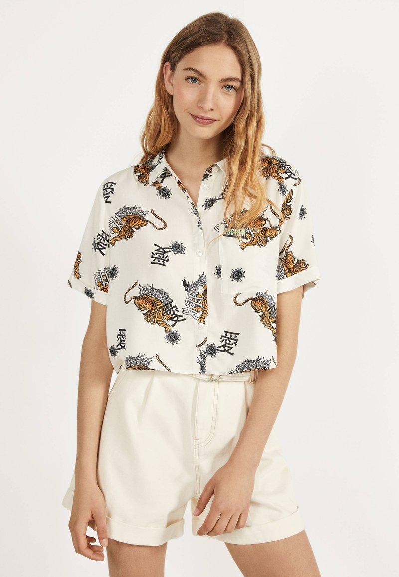 Bershka - Button-down blouse - white