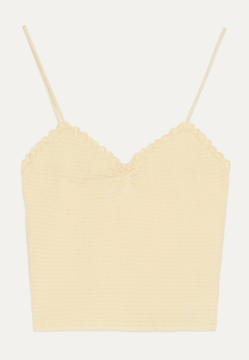 Bershka - GERAFFTES TRÄGER - Top - yellow