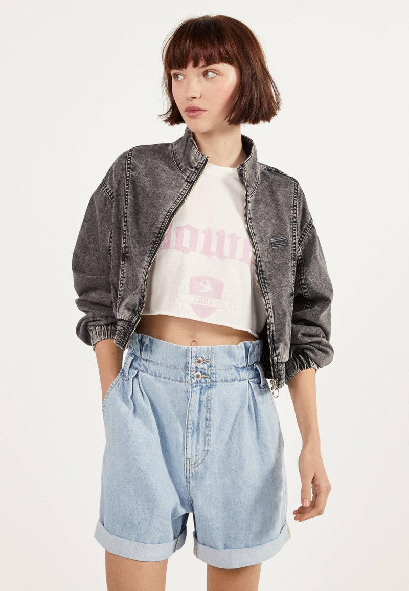 Bershka - Denim jacket - grey
