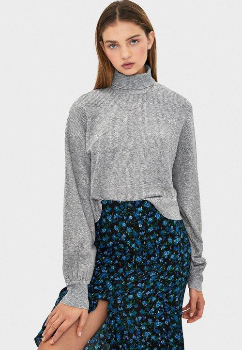 Bershka Sweter - grey Odzież Damska ZISI-LK7 piękny