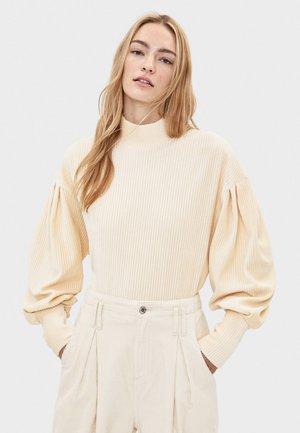 CORD-PULLOVER MIT BALLONÄRMELN 01624315 - Pullover - beige