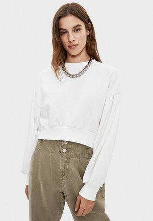 PULLOVER MIT BALLONÄRMELN 01610498 - Sweatshirts - white