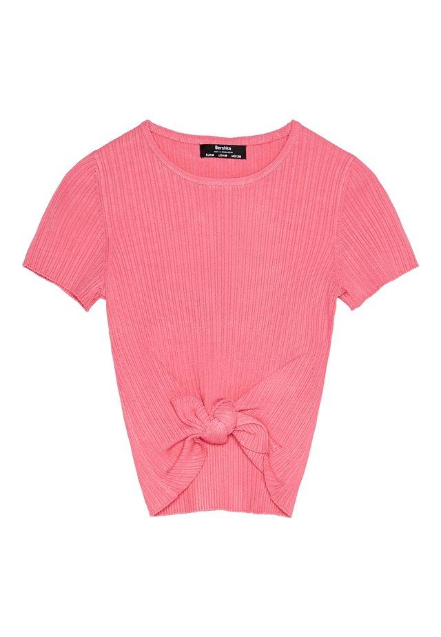 MIT ZIERKNOTEN - T-shirt med print - pink