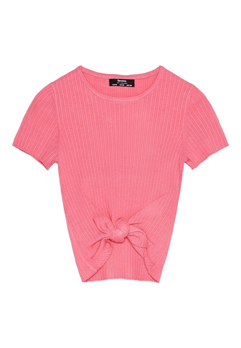 Bershka - MIT ZIERKNOTEN - Printtipaita - pink