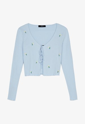 MIT STICKEREIEN - Strickjacke - light blue