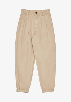 MIT FARBLICH ABGESETZTEM FADEN  - Jeansy Relaxed Fit - beige