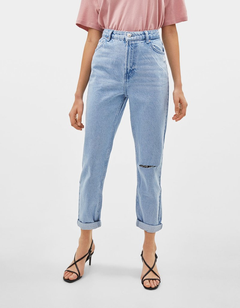 Bershka - Jean boyfriend - blue denim
