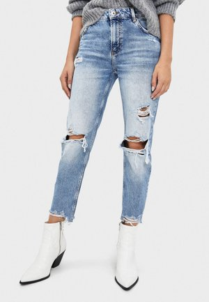 MIT RISSEN - Jeans slim fit - light blue