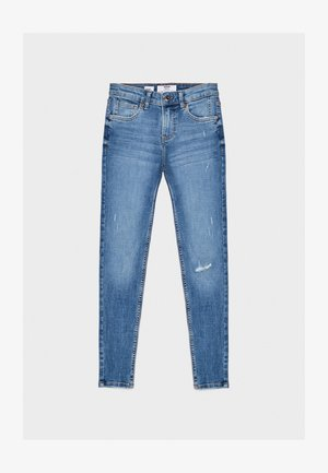 SKINNY-JEANS MIT HOHEM BUND 00001211 - Jeansy Skinny Fit - blue denim