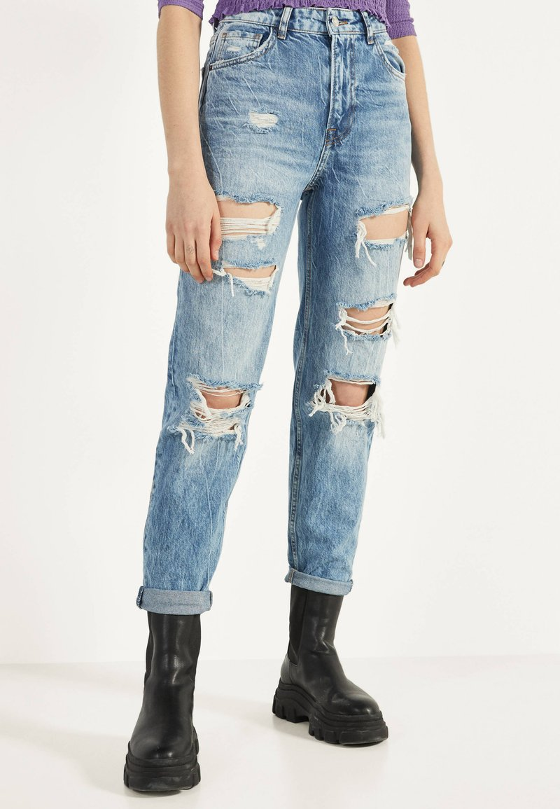 Bershka - Džíny Straight Fit - blue denim