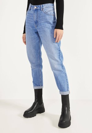 MOM-FIT-JEANS MIT HOHEM BUND 00005352 - Straight leg jeans - blue-black denim