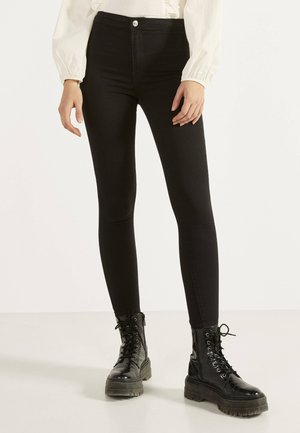 JEGGINGS MIT HOHEM BUND - Jeggings - black