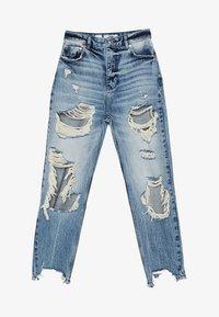 Bershka - MIT RISSEN - Jeans Straight Leg - blue denim - 4