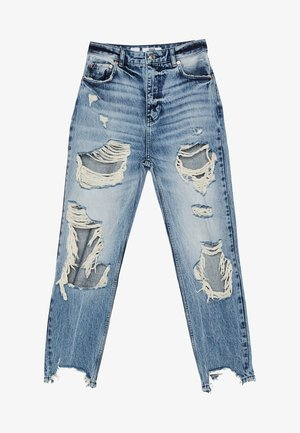 MIT RISSEN - Straight leg jeans - blue denim