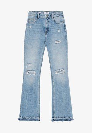 MIT ZIERRISSEN - Flared Jeans - blue denim
