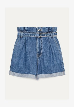 MIT SCHNALLE  - Denim shorts - light blue