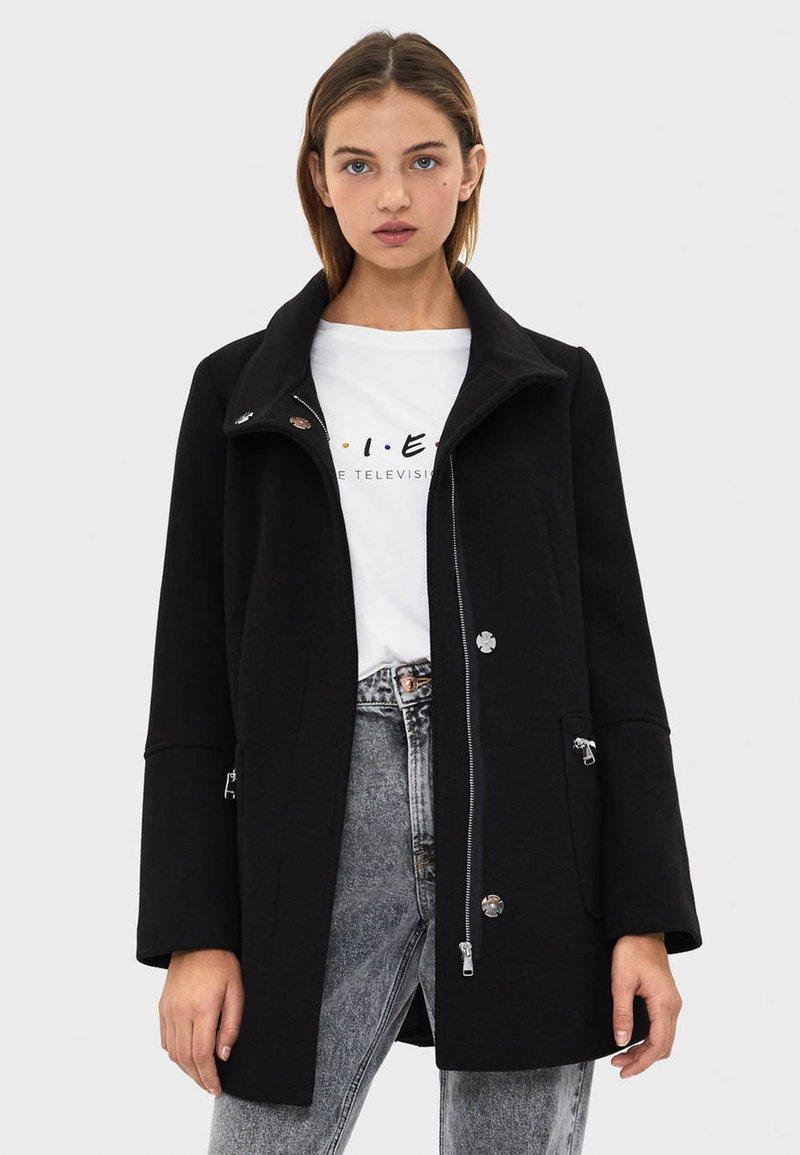 Bershka - Płaszcz wełniany /Płaszcz klasyczny - black