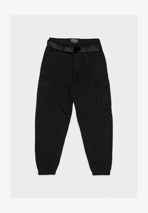 MIT GÜRTEL - Pantalon cargo - black