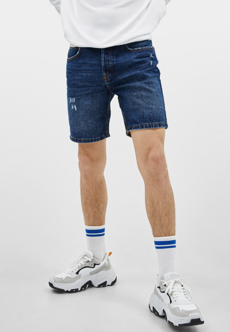 Bershka - Denim shorts - dark blue