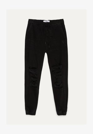 MIT RISSEN - Jeans Tapered Fit - black