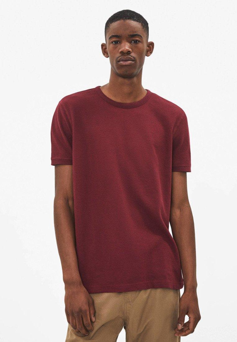 Bershka - MIT WAFFELGEWEBE - T-shirt basic - bordeaux