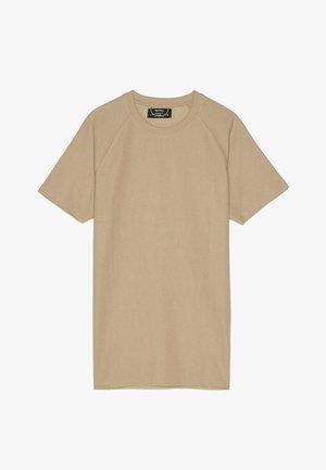 MIT WAFFELGEWEBE - Basic T-shirt - beige