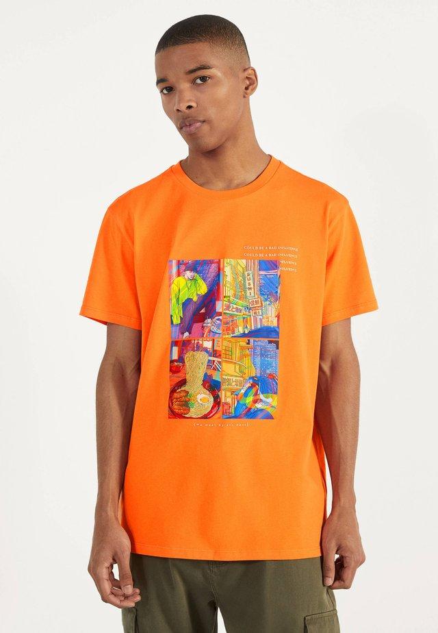 MIT PRINT - Triko spotiskem - orange
