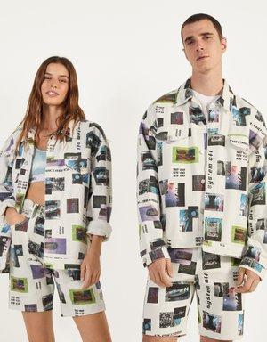 MIT FOTOPRINT - Summer jacket - white