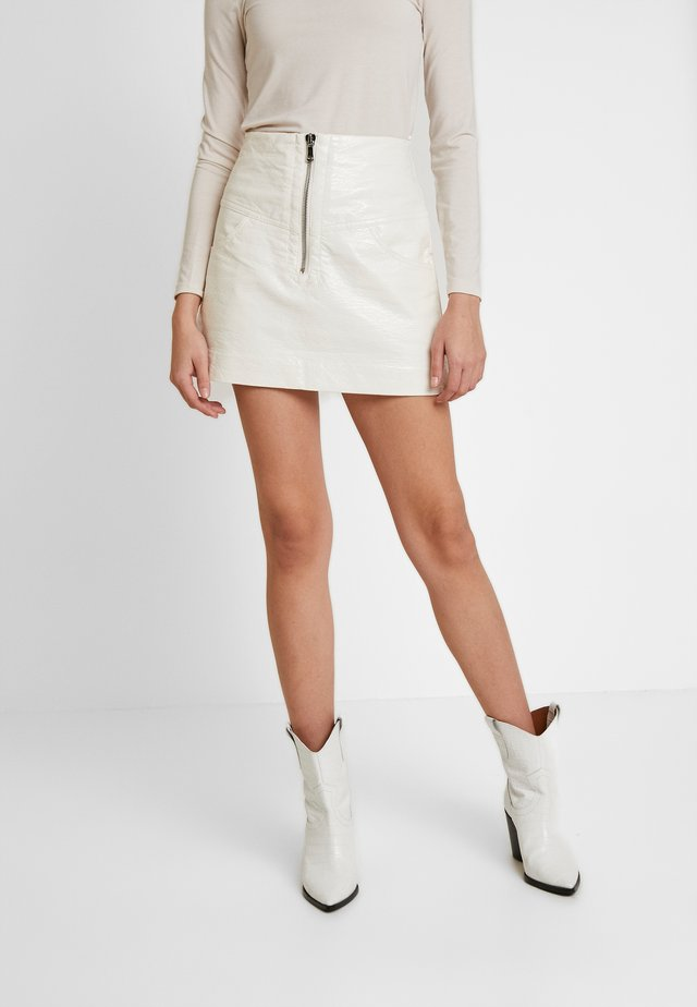 WAX MINI SKIRT - Gonna a campana - ivory