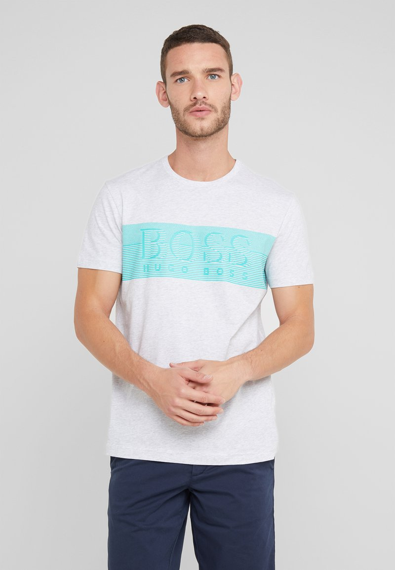 BOSS - TEE - T-shirt z nadrukiem - light pastel grey