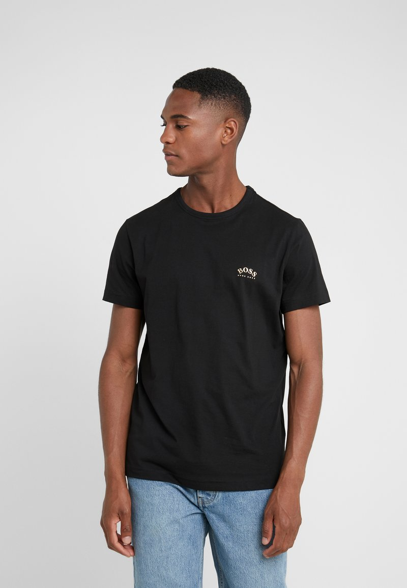 BOSS - TEE CURVED 10213473 01 - Jednoduché triko - black/gold