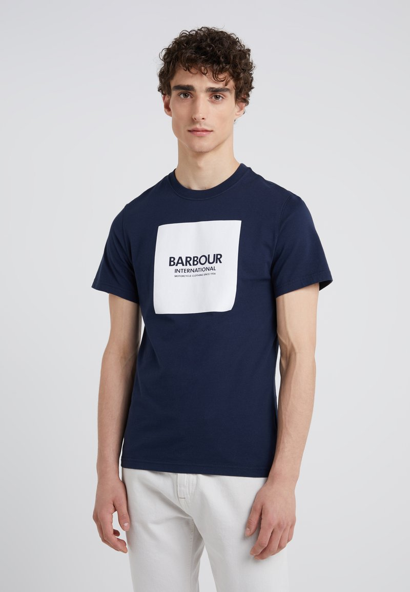 Barbour International - BLOCK TEE - Print T-shirt - navy