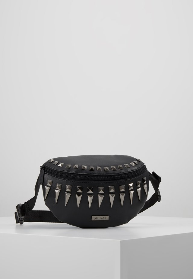 LABEL BUM BAG - Ledvinka - black/silver