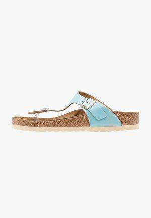 GIZEH - T-bar sandals - washed metallic aqua