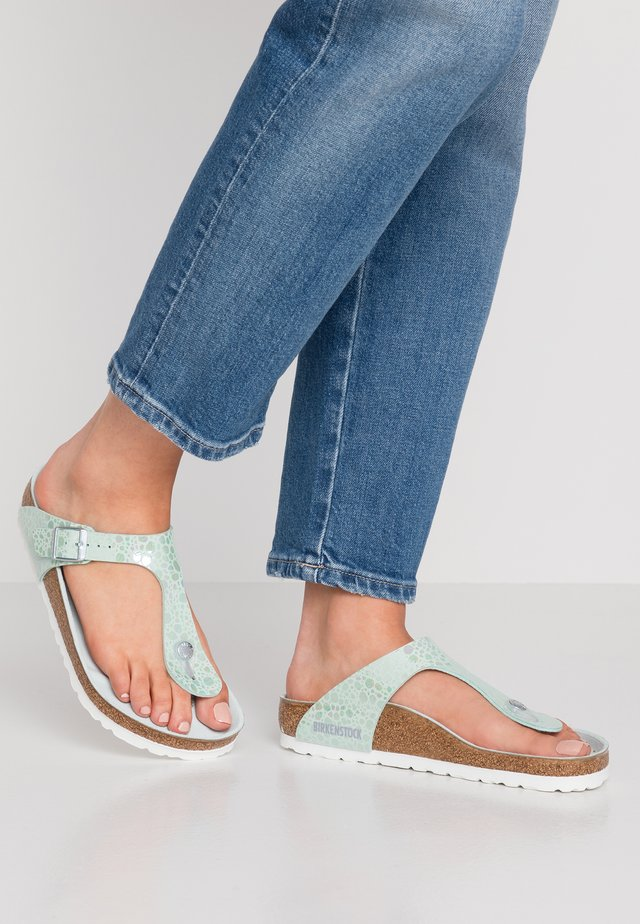 GIZEH - T-bar sandals - metallic stones/aqua