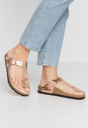 GIZEH - T-bar sandals - gator gleam copper