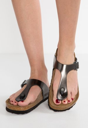 GIZEH - T-bar sandals - metallic anthracite