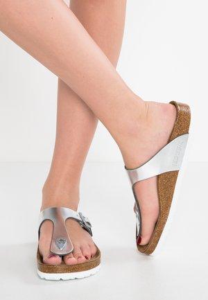 GIZEH - T-bar sandals - metallic silver