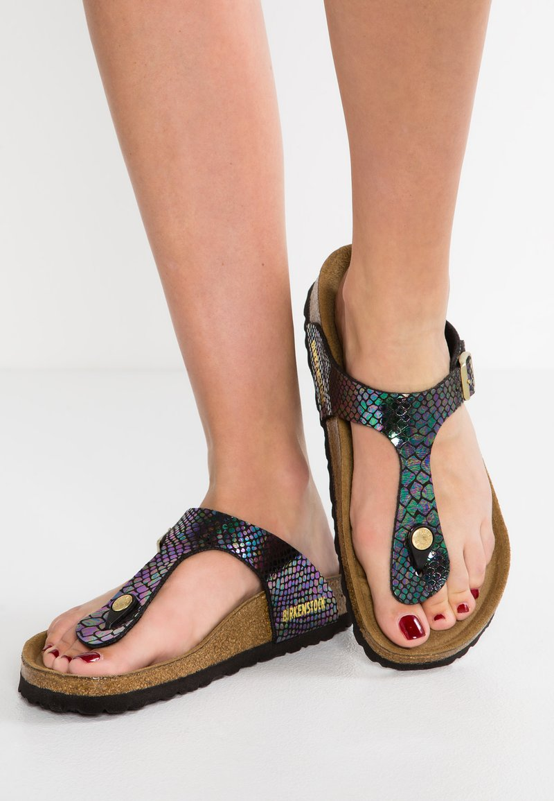 Birkenstock - GIZEH - T-bar sandals - black/multicolor