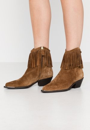 Cowboy/biker ankle boot - tabac
