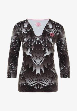 ARIANA TECH V-NECK LONGSLEEVE - Langarmshirt - black/white