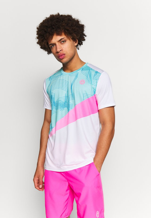 JAROL TECH TEE - T-shirt med print - white/mint/pink