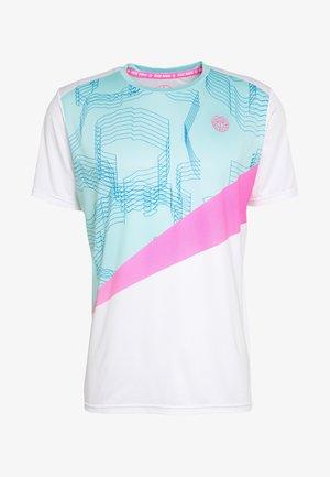 JAROL TECH TEE - T-Shirt print - white/mint/pink